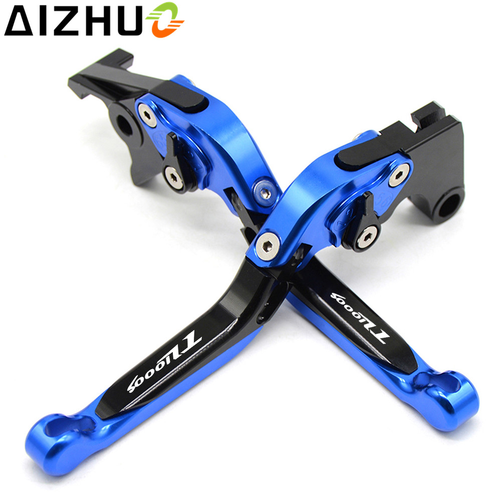 With TL1000S LOGO Motorcycle Clutch Brake Lever CNC Aluminum Extendable Adjustable Levers For Suzuki TL1000S 1997 1998 1999-2001