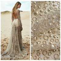 La Belleza een yard gold metallic stenen parels zware geborduurde trouwjurk/avond/tonen jurk kant stof 51 ''widht