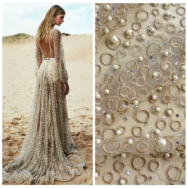 one yard gold metallic stones pearls heavy embroidered wedding dress/evening/show dress lace fabric 51'' widht