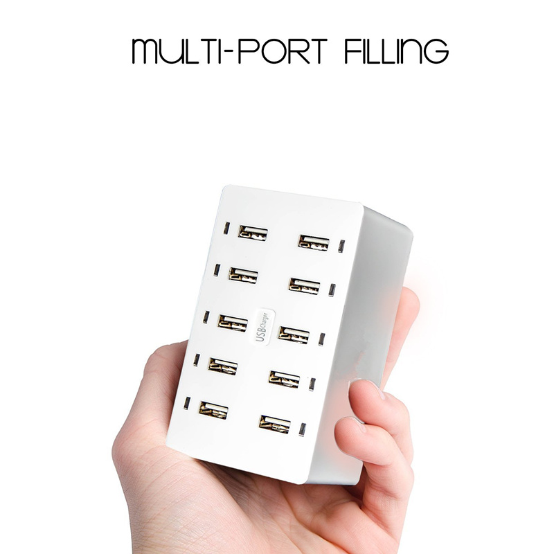 Multi Port Charger 10 Port USB Wall Charger 8A Desktop Intelligent Charging Stations for Smart Phone Tablet Notebook Camera