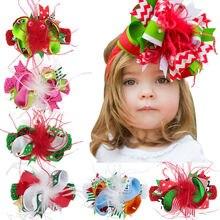 Naturalwell девушки Рождество цветок эластичная повязка на голову Дети Рождество аксессуары для волос ленты заколки с бантами для волос HB208D