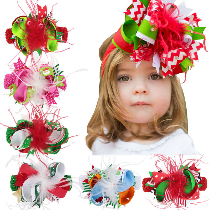 Naturalwell Girls Christmas Flower Headband Elastic Hairband Children Christmas Hair Accessories Ribbon Hair Bows Clips HB208D free shipping 2 colors newborn kid girl elastic flower headband hairband hair accessories