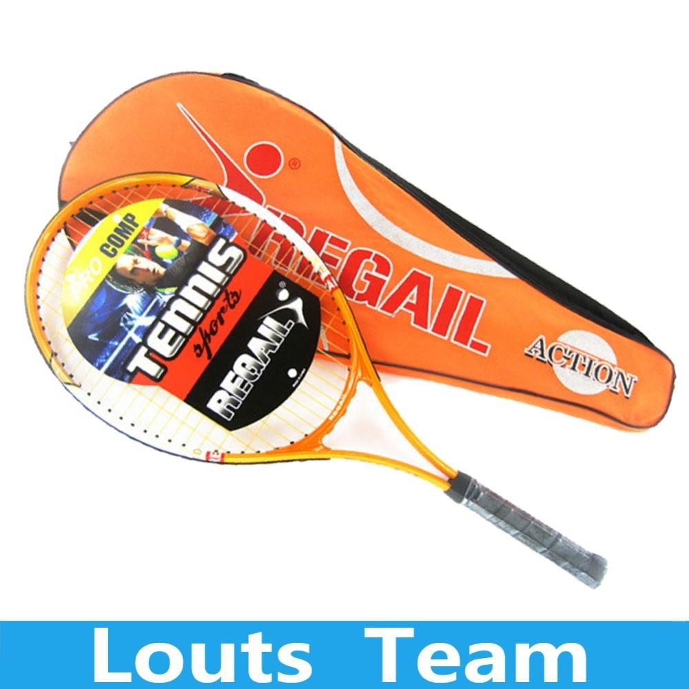 1 Pcs Regail Sports Tennis Racket Aluminum Alloy Adult Racquet with Racquet Bag for Beginners Orange Color