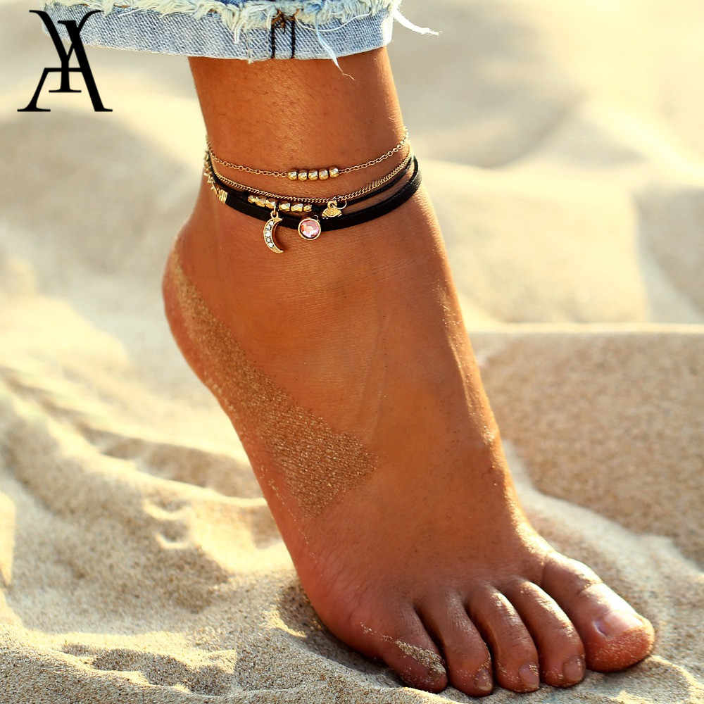 AY Bohemian Crystal Beads Anklet Set For Women Moon Pendant Bracelet on the Leg Ankle Strap Girls Summer Anklets Foot Jewelry