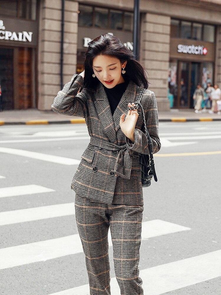 Tempérament Pièces Deux Ensembles Nouveau 1 Tenue Tweed Femmes Mince Plus 2019 Taille Treillis La Costume Version De Coréenne Ensemble BtqpZ