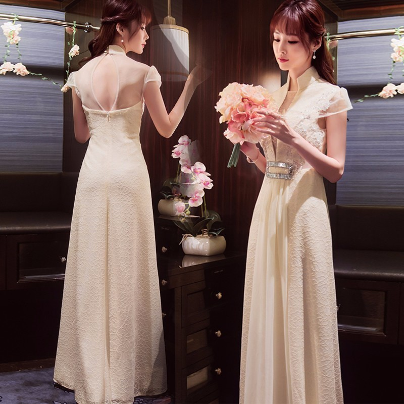 White Lace Traditional Evening Gown Wedding Dresses Chinese Long ...
