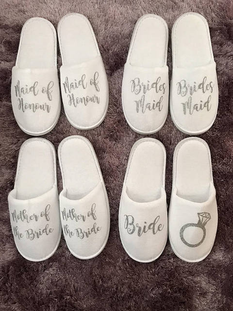 custom color titles wedding bridesmaid bride groom spa soft slippers hen  night Bachelorette party favors gifts 116a8cfbb23a