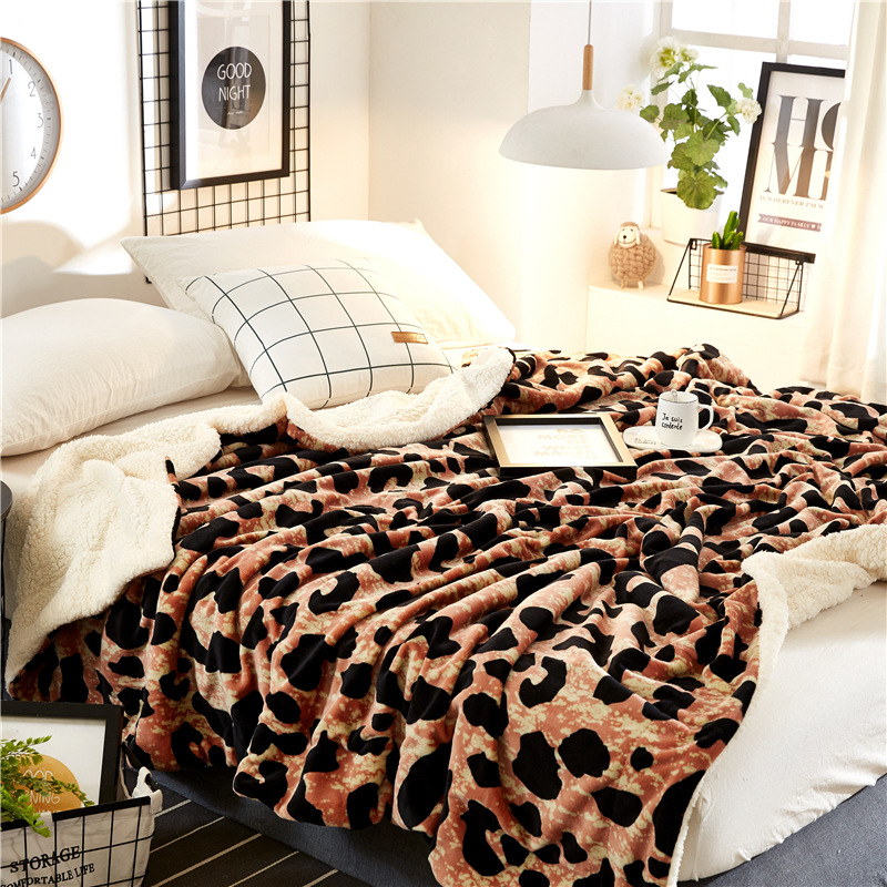 Осень и Зима Простой кашемировые одеяла утолщаются фланель двойной бархат простыни подарок Зебра леопардовым узором Одеяло - 3