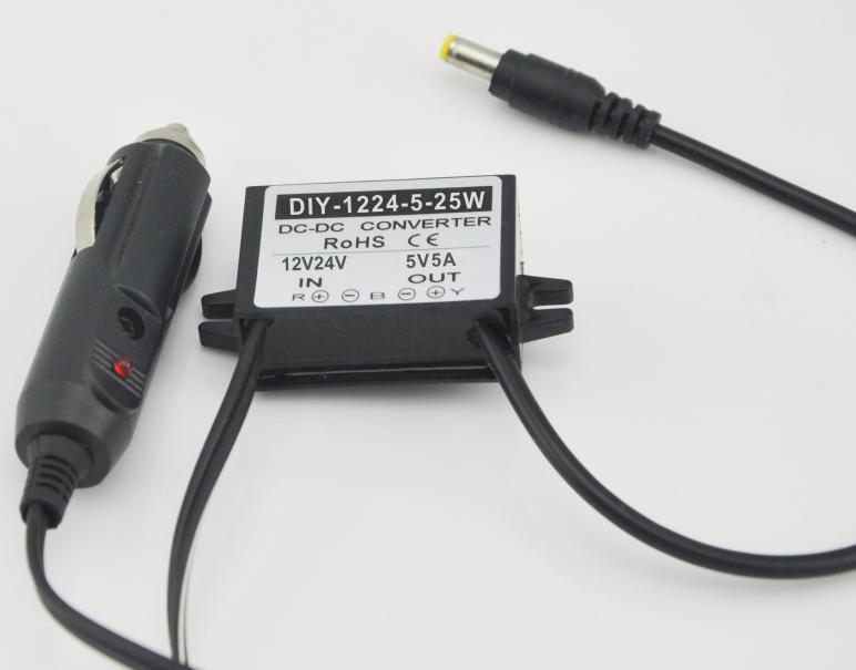 Converter 12V24V Step Down 5V 5A 25W DC-DC Car Buck Power Module Voltage Regulator With Cigarette Lighter Plug To DC Waterproof 120w power converter ac 220v 100 250v input dc 24 v 5a output adapter car power supply cigarette lighter plug