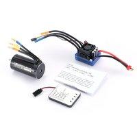 4076 2000KV 4 poles Sensorless Brushless Motor 120A ESC with LED Programming Card Combo Set for 1/8 RC Car Truck Accesorries