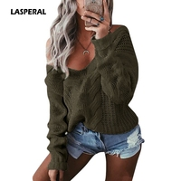 2017 נשים אופנה חדשות LASPERAL כבל סוודרים לסרוג סוודרים מקרית Loose סתיו החורף סקסי V צוואר סריגי מגשרי טוויסט 2XL