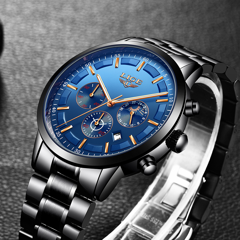 все цены на Men Watch 2018 LIGE Mens Watches Top Brand Luxury Quartz Watch Men Full Steel Waterproof Military Sport Watch Relogio Masculino