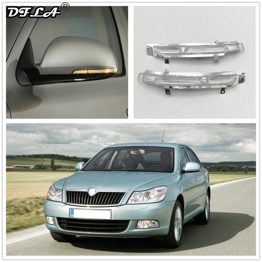 LED Mirror Light For Skoda Octavia A5 A6 2009 2010 2011 2012 2013 Car-Stying Rear Mirror LED Turn Signal Indicator Light Lamp