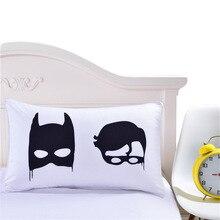 Креативный классный черный декоративный белый чехол для подушки с Бэтменом, Подарочный комплект, одна пара подушек, постельный комплект, постельный комплект, наволочка, чехол s Capa