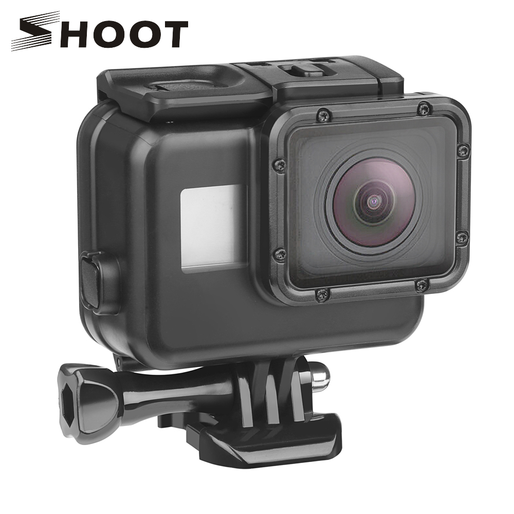 SHOOT 45m Waterproof Case for Gopro Hero 7 6 5 Black Action Camera Underwater Go Pro 5 Protective Case Mount for GoPro Accessory lanbeika for gopro hero 6 5 touchbackdoor diving waterproof housing case 45m for gopro hero 6 5 go pro5 gopro6 gopro hero6