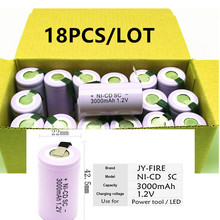 18pcs High quality battery rechargeable battery sub  battery SC battery  1.2 v with tab 3000 mah for electrical tools цена