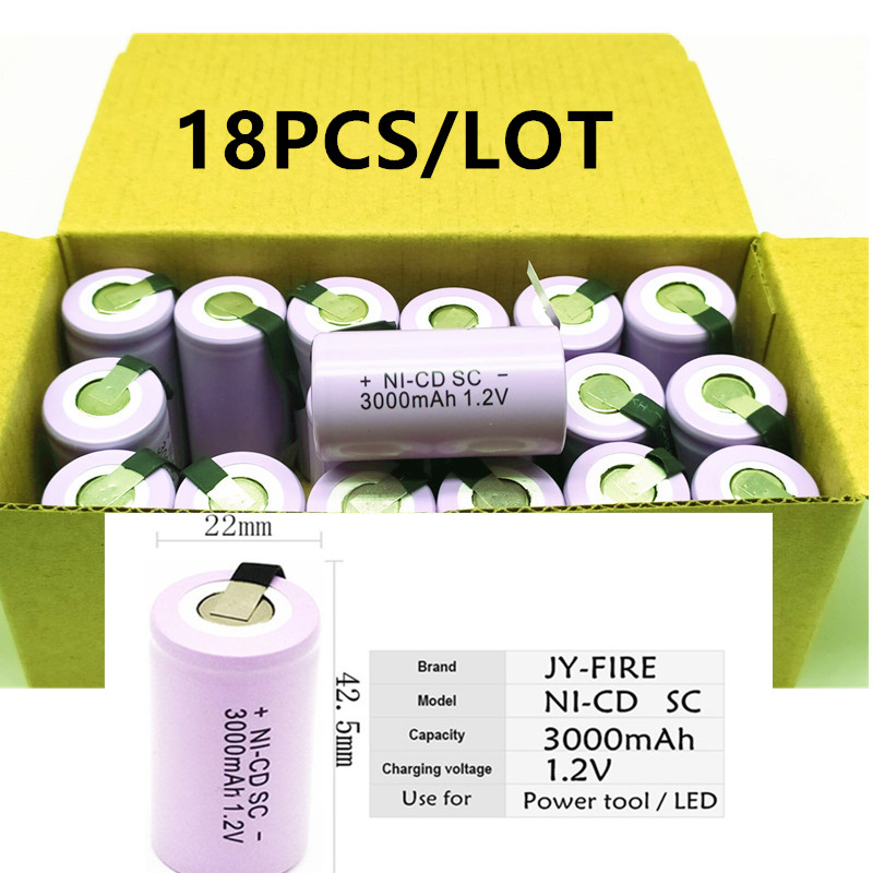 18pcs High quality battery rechargeable battery sub battery SC battery <font><b>1.2</b></font> <font><b>v</b></font> with tab 3000 mah for electrical tools image
