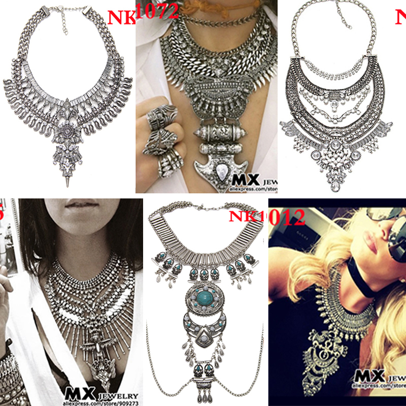 Many Style Hot Sales Women Dress Jewelry Bib Collar Choker Maxi Vintage Metal Statement Necklaces Pendants