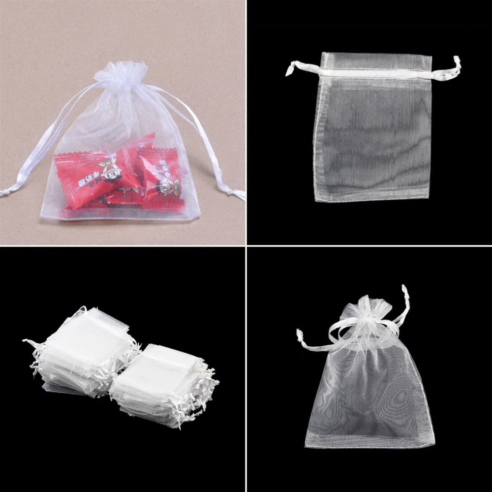 Small Wedding Gift Bags: 100Pcs/Lot Colorful Drawable White Small Organza Bags