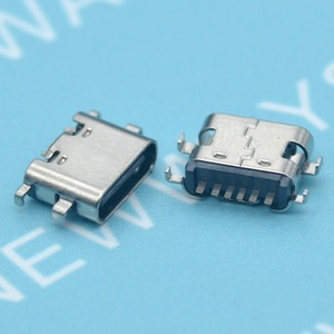 10Pcs/Lot Micro Usb Jack 3.1 Type-C 6Pin Sink 1.6Mmfemale Connector For Mobile Phone Charging Port Charging Socket Tow Feet Plug