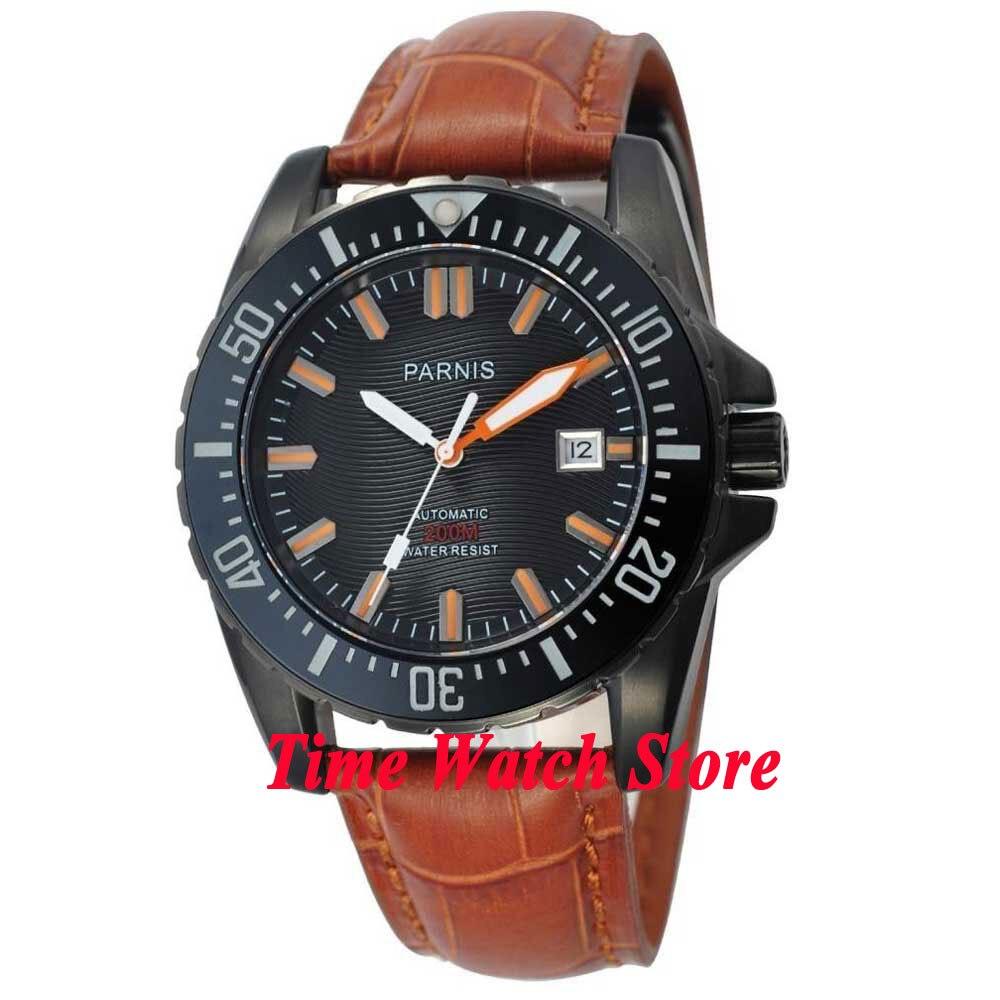Parnis watch 43mm Black dial Sapphire glass black PVD case date adjust Ceramic Bezel Diver Automatic movement Men's watch 186 цена и фото