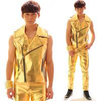 Original colete masculino men gold vest oblique zipper clothing personalized singer dance stage street star style dress fashion