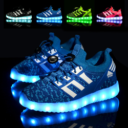 Glowing Children Athletic Shoes with USB rechargeable Kids Led Light up footwear Sneakers for Boys Girls sports Pink Black