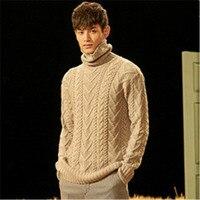 Новая мода 100% ручная работа из чистой шерсти вязанная Мужская водолазка толстый пуловер свитер один и более размер