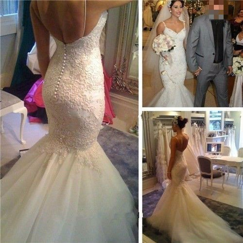 Vestido De Noiva Mermaid Wedding Dresses 2016 V-Neck Sleeveless Backless Sweep Train Lace And Applique Ivory Wedding Gowns Dress