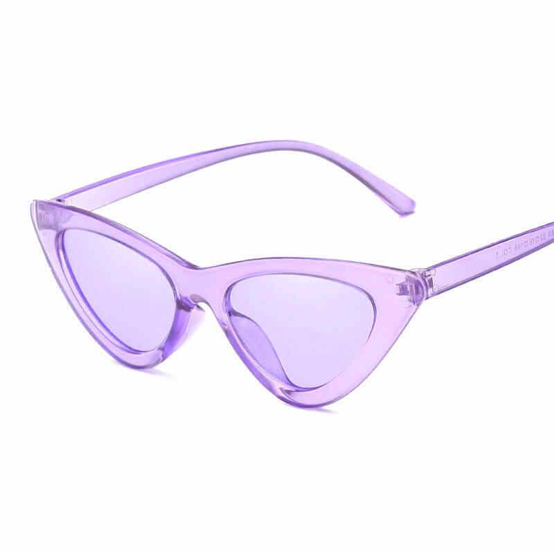 Moda Red Lense Transição Óculos de Sol Olho de Gato Sexy Óculos De Sol Para Meninas Senhoras de Vidro Azul Claro AABE04