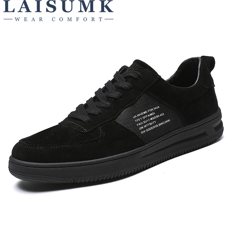 LAISUMK Fashion Solid Black Mens Canvas Shoes Lace Up Breathable Men's Flats New 2019 Men Sneakers Casual Shoes Dropshipping