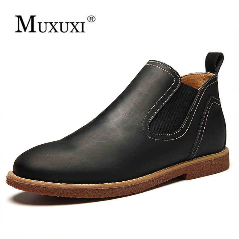 Natural leather ankle Boots Men rubber rain boots fashion chelsea botas hombre casual slip-on waterproof boots moccasins zapatos saguaro pvc men rain boots fashion warm plush rainboots boy botas casual slip on waterproof mens ankle boots chaussure zapatos