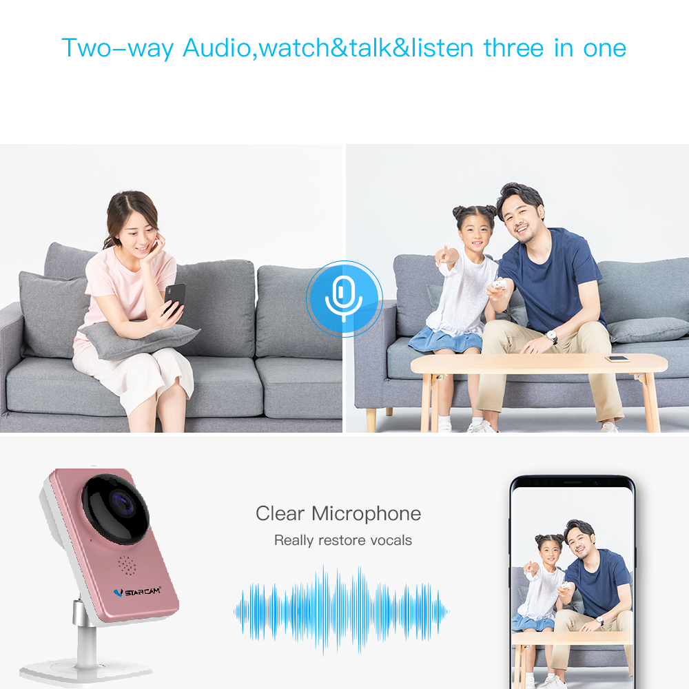 VStarcam WiFi Mini Camera Panoramic Infrared Night Vision Wireless Motion Alarm Video Monitor IP Camera C60S Pink