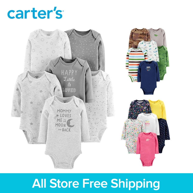 New Carters 6pcs Bodysuit Baby Girl Clothes Cotton Long Sleeve Print