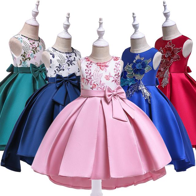 Kids Bridesmaid Flower Girls Dresses For Girls Wedding Gown Children Formal Evening Party Dresses Toddler Girls Princess Dress