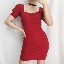 2019 new sexy retro puff sleeve solid color mini dress women short sleeved slim bag hip tight skinny wild summer S-L