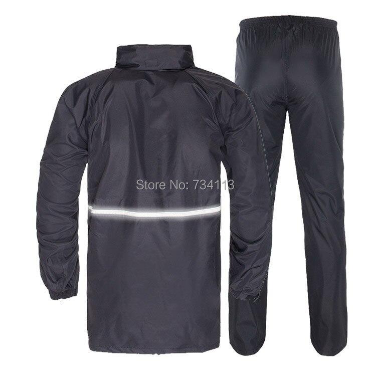 Capas de chuva tamanho grande cintura adulto raincoat calças de chuva set  Com Capuz capa de chuva Impermeável calças bolso com zíper terno de pesca f7f279dde928b