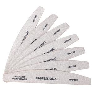 Image 2 - 100 pcs di Legno Carta Vetrata Nail File 100/180 Manicure Professionale Buffer Grigio Barca Pedicure Double sided Legno Buffer Del Chiodo di Alimentazione