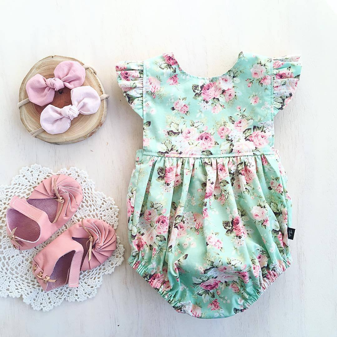 New 2017 Toddler Baby Girls Print Floral Ruffle Sleeve ...