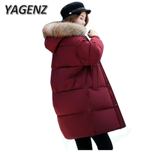 YAGENZ 2017 New Winter Parkas Down Cotton jackets Coat Women Loose Thicker Hooded Overcoats Warm Solid Student Cotton Jacket