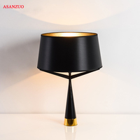 Modern Nordic fabric table lamp trigeminal stent creative bedroom study bedside decorative table lamp Black