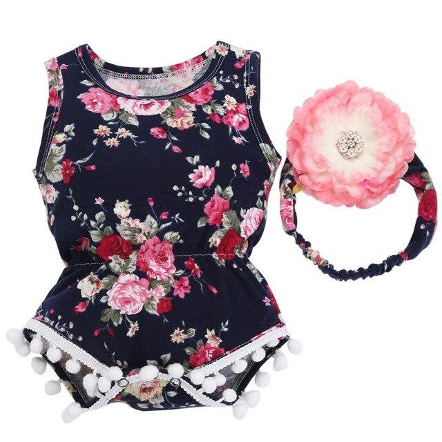 bc146ff8285 2017 New 0-2Y Floral Pattern Infantil Baby Girl Romper Para Bebe Headband  Set Tassel One Piece Newborn Baby Clothes Suit Bebe