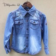 2016 New arrival Spring Autumn Fashion baby boys deep blue denim shirts easy to match children soft boys shirts #161014_h83