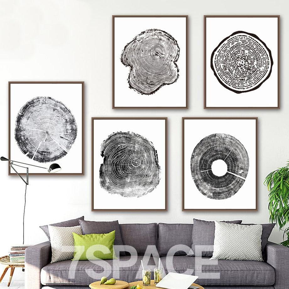 Must Valge Puu Ring Põhjamaade Plakatid ja Trükised Seina Art Lõuend Maalimine Retro Plakati Wall Pildid elutoa sisekujunduseks