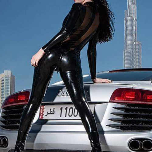 100% Latex Rubber Bodysuit Fashion Cool Catsuit Black And Transparent Size 0.4mm Size XXS-XXL