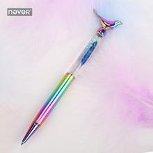 Asla sinek kuş serisi lüks Metal hediye kalem tüy 0.7mm makaralı tükenmez kalem Buseiness ofis ve okul kırtasiye malzemeleri