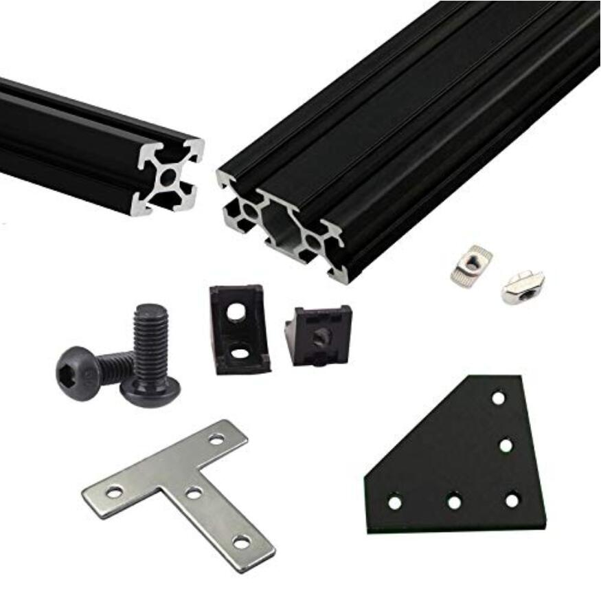 Black Silve BLV mgn Cube Frame Extrusion Kit w Nuts Screw Angle Brackets F CR10 665mm