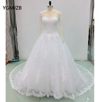 Luxury White Wedding Dress Long 2018 Puffy Ball Gown Long Sleeves Pearls Lace Tulle Bridal Gown Trouwjurk Vestido De Noiva