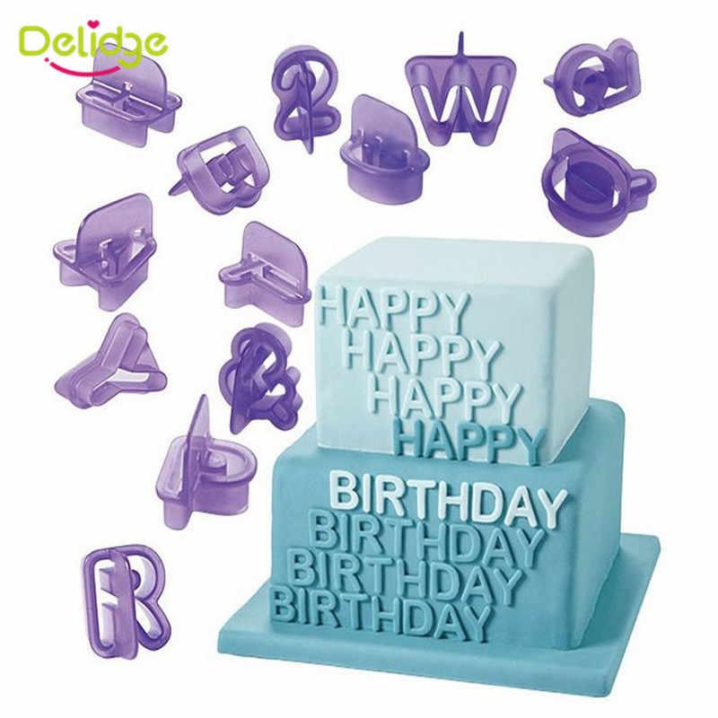 Delidge 40 قطعة/المجموعة الإنجليزية خطابات قاطعة البسكوت 3D الأبجدية عدد فندان كعكة البسكويت الخبز العفن ديي كعكة تزيين أدوات