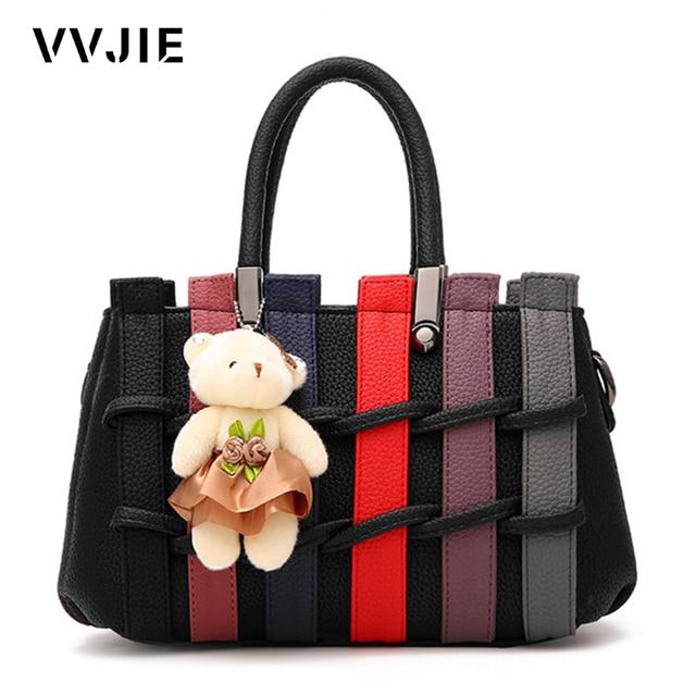 Vvjie Brand Female Stripe Splicing Handbag Women Leather Woven Bags Luxury Handbags Designer Shoulder